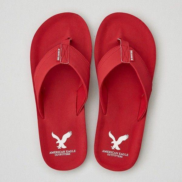 045c72cddc19b AEO Flip Flop ($20) ❤ liked on Polyvore featuring men's fashion, men's shoes,  men's sandals, men's flip flops, red, mens rubber flip flops, mens red shoes  ...