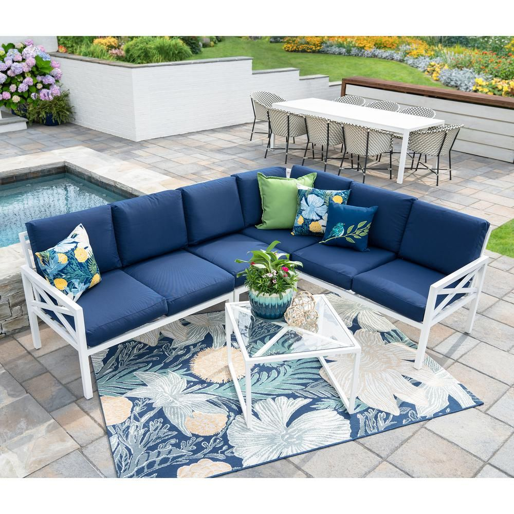 Fabulous Leisure Made Blakely White 5 Piece Aluminum Outdoor Interior Design Ideas Apansoteloinfo