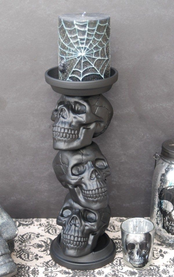 10 Super Easy Dollar Store Halloween DIY Decor Ideas Skull candle - how to make scary homemade halloween decorations