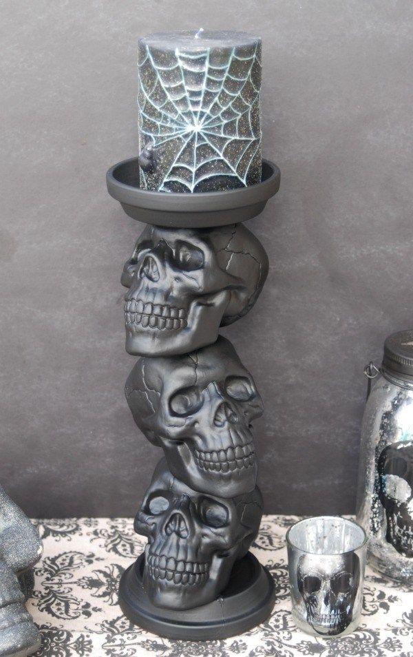 10 Super Easy Dollar Store Halloween DIY Decor Ideas Skull candle