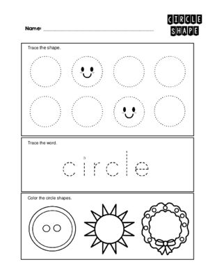 Circle 2 D Shape Worksheet Trace And Color Pinterest Shapes