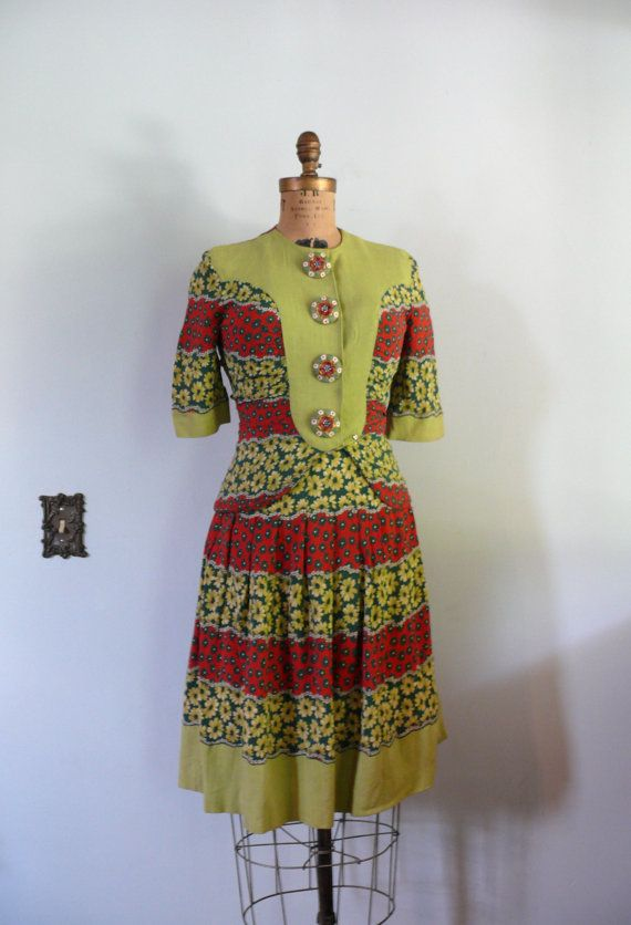 vintage 1930s Dress  // Rayon and Linen 2 by AdelaideHomesewn