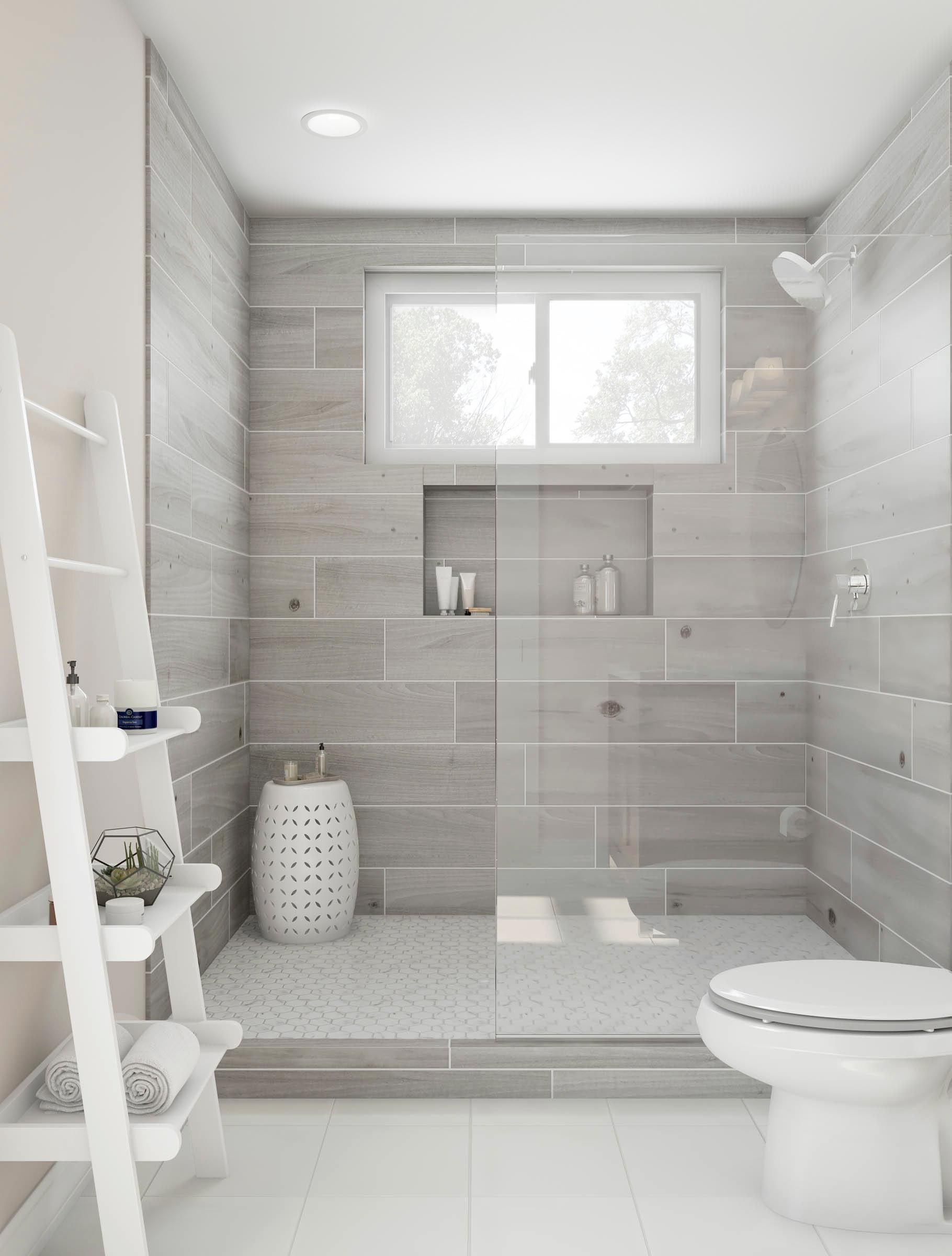 Bliss out in this gorgeous walk in shower ash gray tile - Bathroom tile design ideas for small bathrooms ...