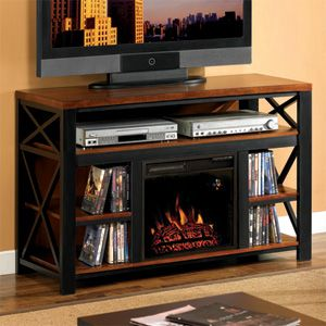 a beautiful media console electric fireplace combo. Black Bedroom Furniture Sets. Home Design Ideas