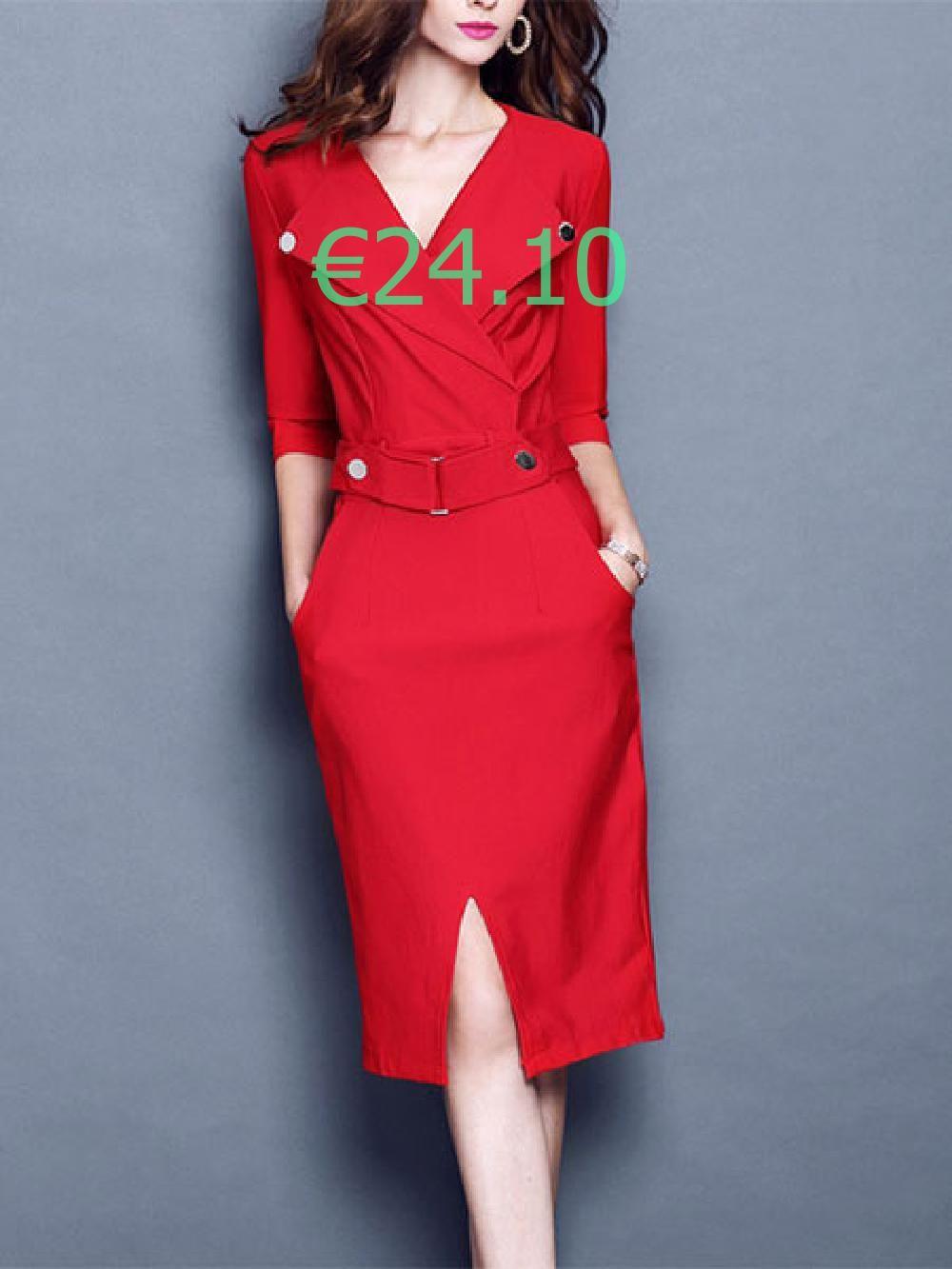 roten figurbetonten kleid halbarm damen slim fit elegantes