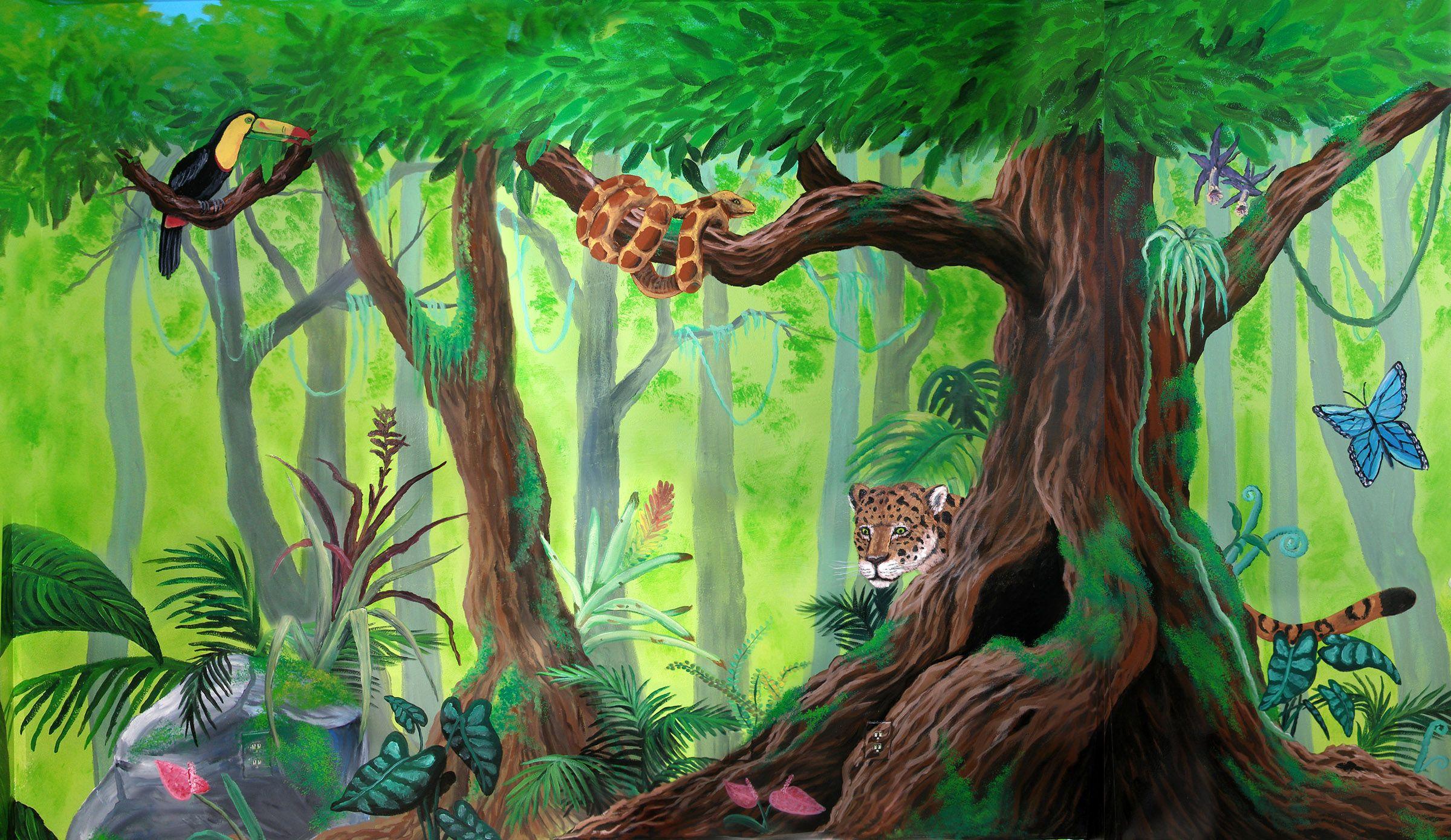 Rainforest mural by deviantart art fantasy fairytale for Animal mural wallpaper