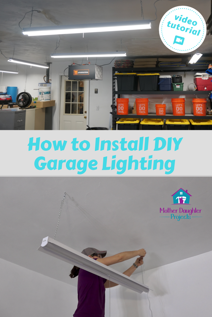 see how to add easy to install led lighting to your garage also get some wiring tips from a professional electrician garagemakeover diy install  [ 735 x 1102 Pixel ]