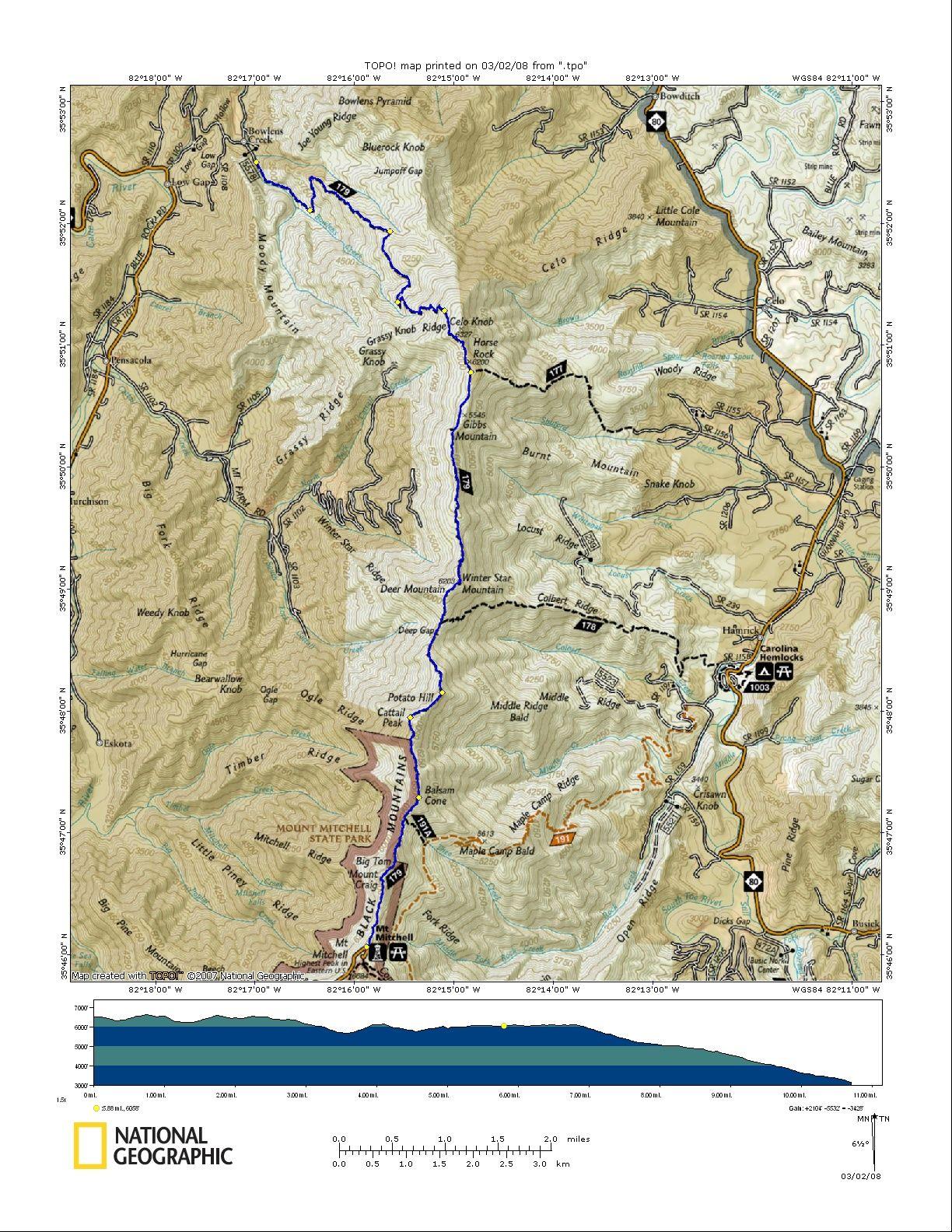 Black Mountain Crest Trail Bolens Creek To Mt Mitchell Burnsville