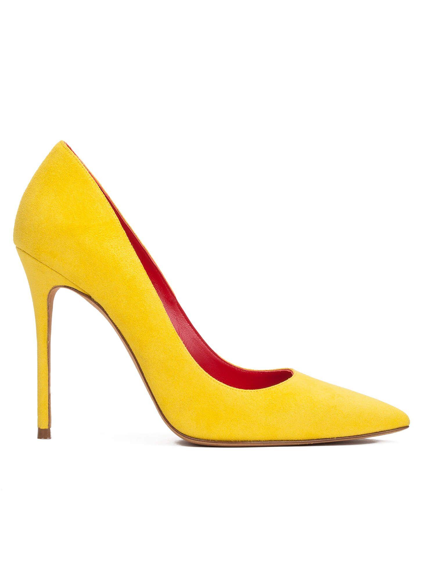 Yellow stilettos Zapatos de salón en ante amarillo