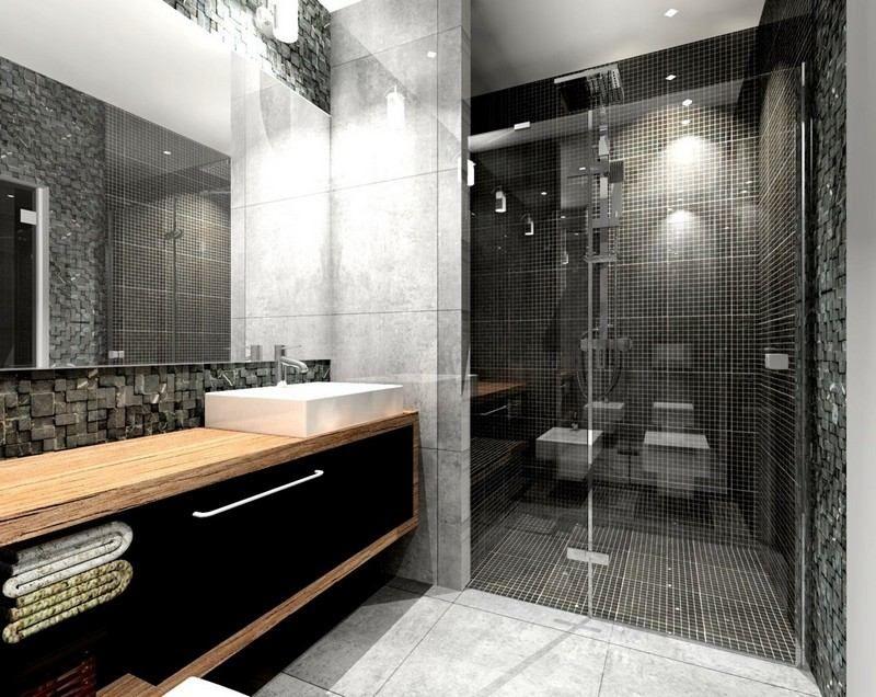salle de bain noir et blanc avec meuble en bois et parement ...