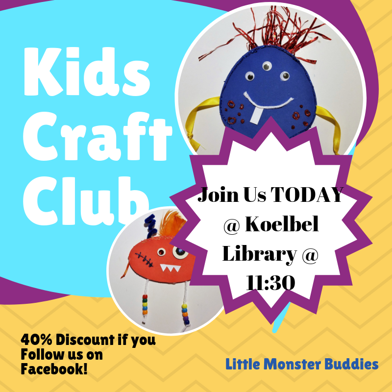 Today Is The Day Our First Kids Craft Club Starts At 11 30am