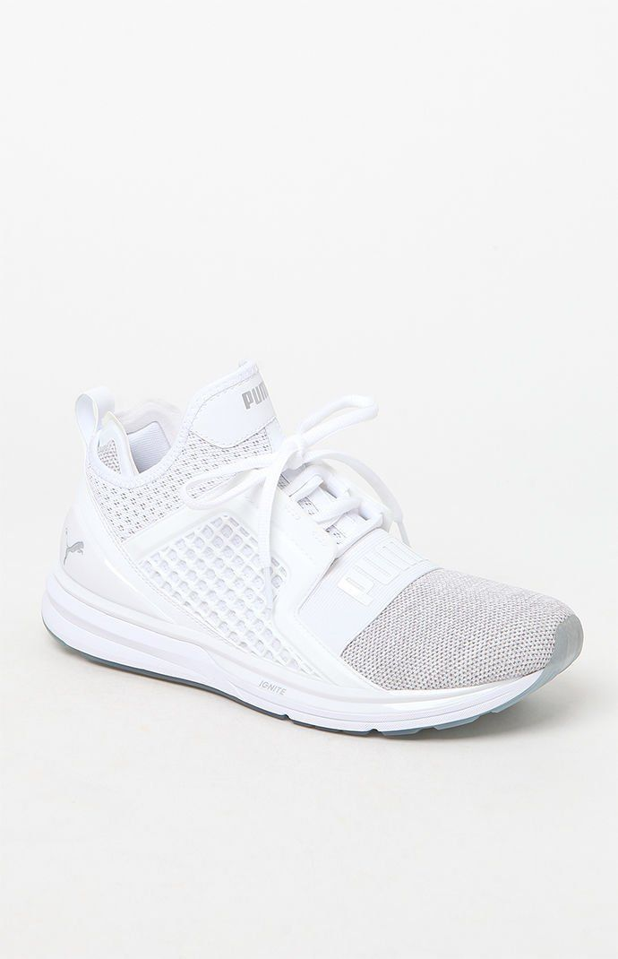 4c4473d7cf24e8 IGNITE Limitless Knit White   Silver Shoes
