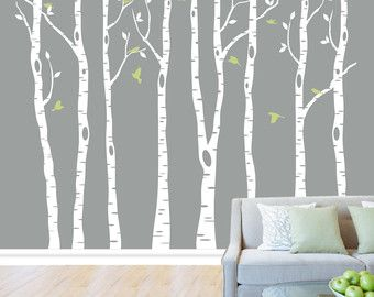 Wall Birch Tree Decal Forest 96 Tall 8 Feet By LimeWallDecor Pictures Gallery