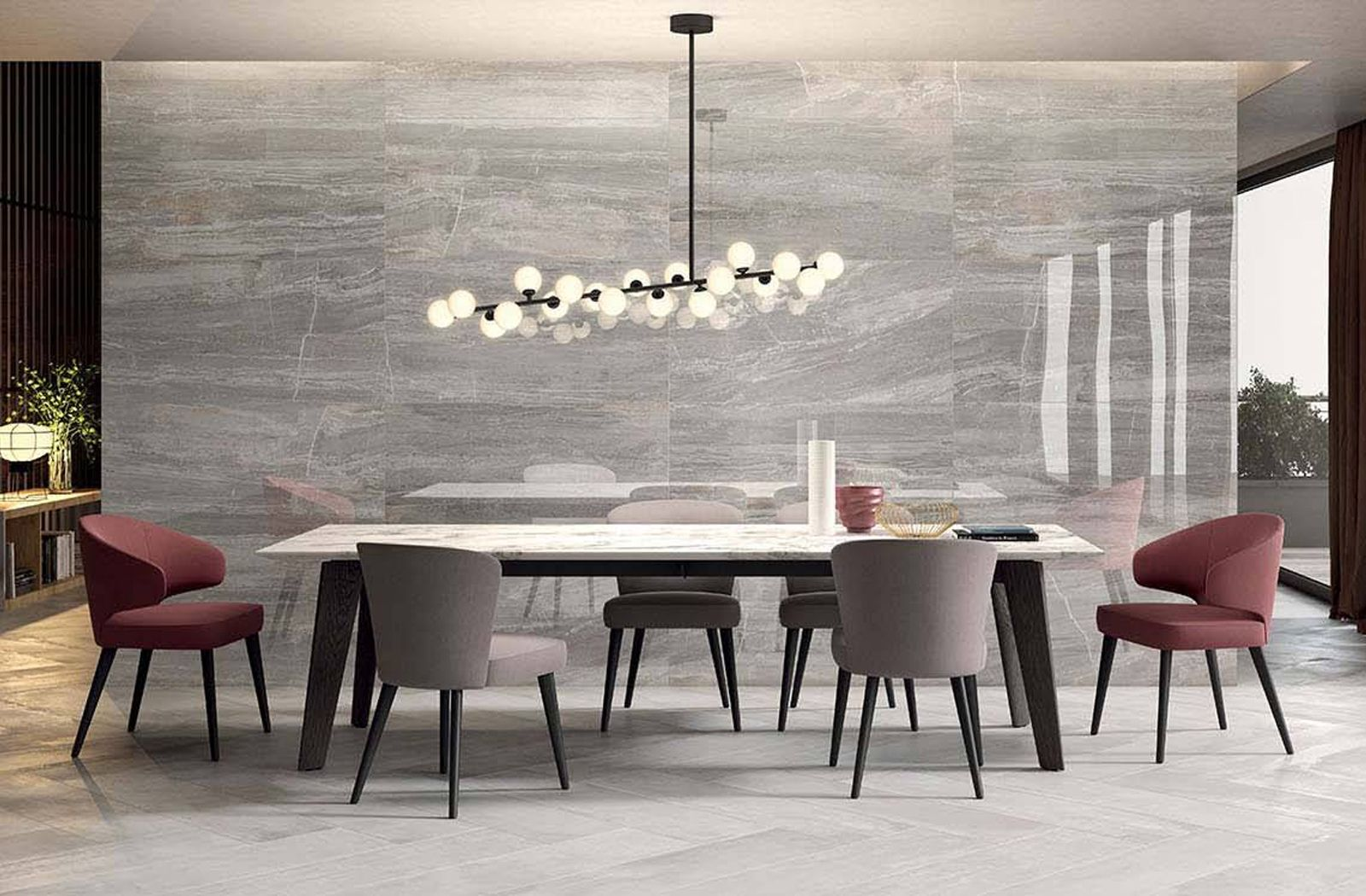Elegant Dining Area With Feature Wall From The Sensi Tile Collection By Abk Beautiful Dining Rooms Dining Room Design Dining Room Remodel