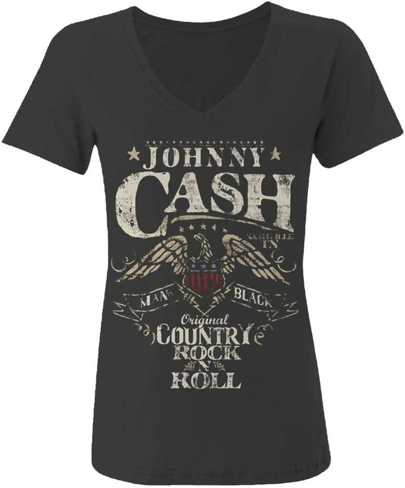 "JOHNNY CASH /""ORIGINAL COUNTRY RNR/"" BLACK T-SHIRT NEW OFFICIAL ADULT ROCK ROLL"