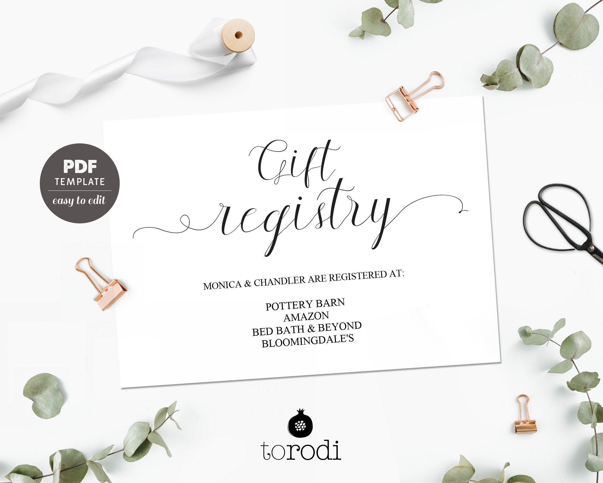 Gift Registry Card Template Wedding Registry Card Registry Insert Template Wedding Printable Wedding Template Editable Pdf Card Wtc03 Wedding Registry Cards Gift Registry Cards Registry Cards