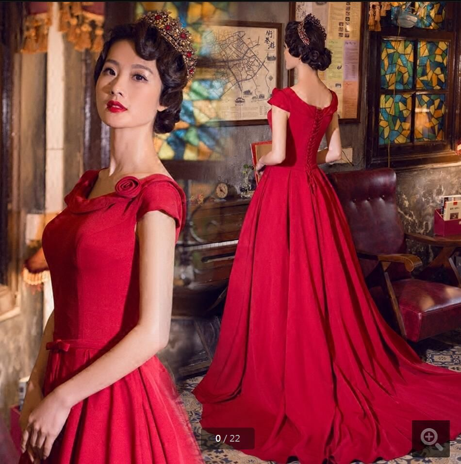 2016 attractive wholesale cap sleeve satin burgundy prom dress corset/lace up court train formal modest prom gowns hot sale