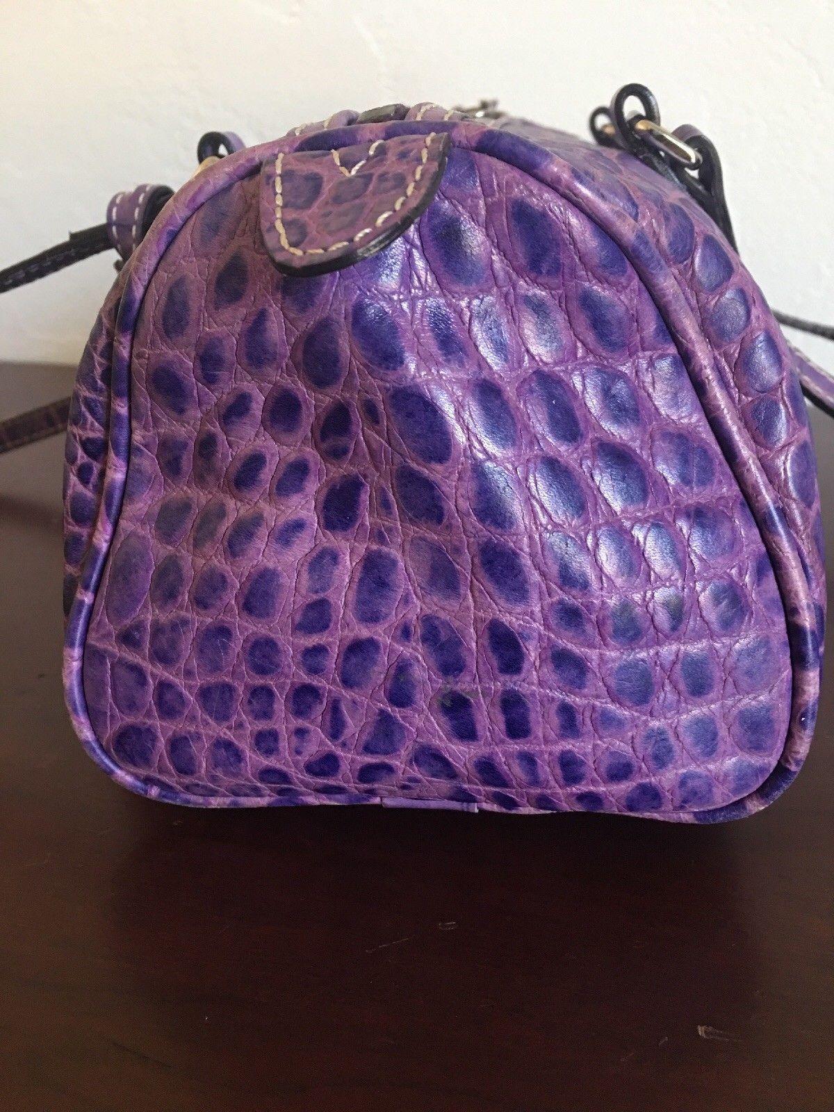 Dooney Bourke Handbag Purple Croco Croc Embossed Leather Bag Purse 39 99