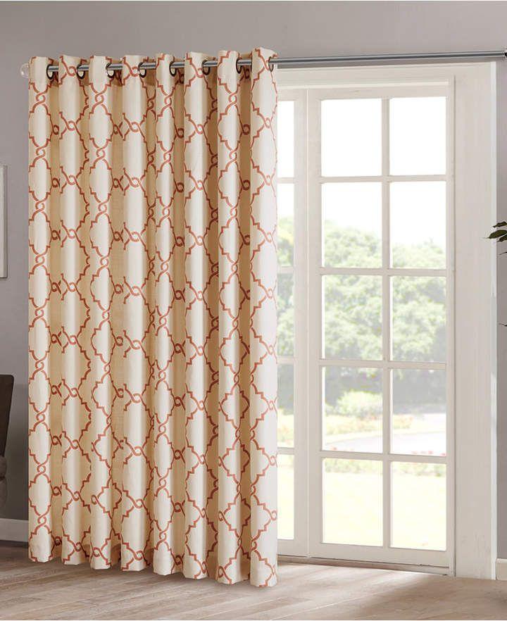 Madison Home Usa Saratoga 100 X 84 Fretwork Print Grommet Patio Curtain Panel In 2020 Sliding Door Curtains Patio Windows Patio Curtains