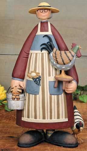 Farmer and Her Chickens Figurine – Everyday Folk Art Figurines & Collectibles – Williraye Studio $45.00