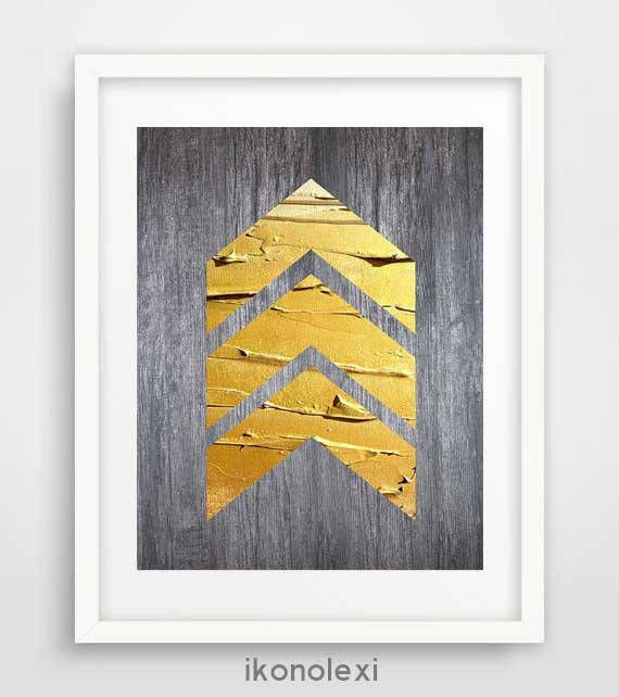 Gold chevrons art rustic wall art chevrons print weathered | From ...