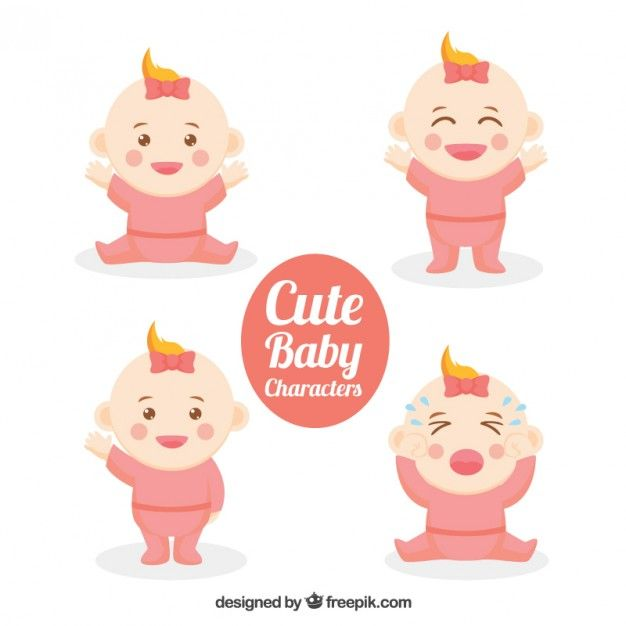 Lovely nice baby characters Free Vector