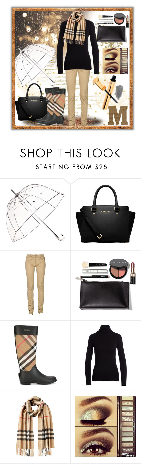 """Let it rain"" by summer-marin ❤ liked on Polyvore featuring Totes, MICHAEL Michael Kors, Monkee Genes, Bobbi Brown Cosmetics, Burberry, NM Luxury Essentials, Urban Decay and Yves Saint Laurent"