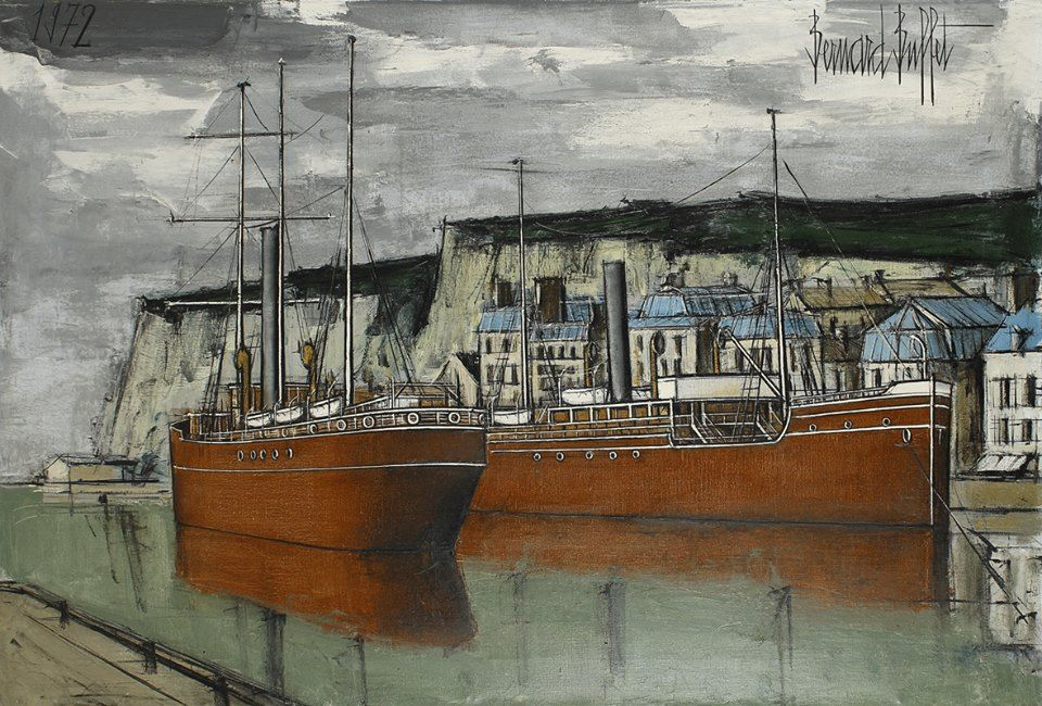 Dieppe bateaux l entr e du port 1972 bernard buffet for Buffet peintre