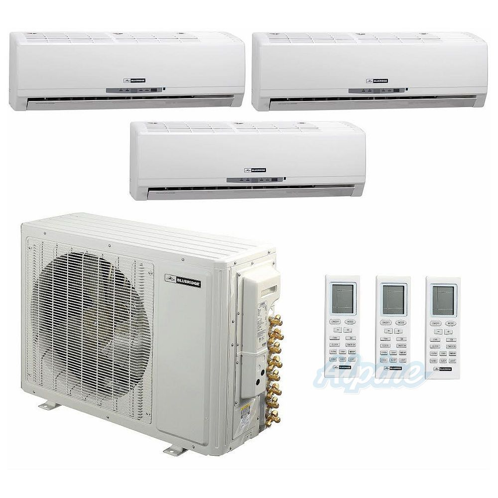 Blueridge Bmkh30g321 12w 12w 12w 30 000 Btu 2 5 Ton 21 Seer Three Zone Ductless Mini Split Heat Pump System Heat Pump System Ductless Heat Pump Ductless Mini Split