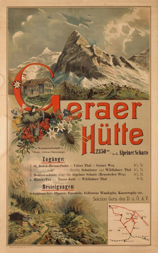 1900s Geraer Cabin Of The Austrian Alps Club Vintage Travel Poster