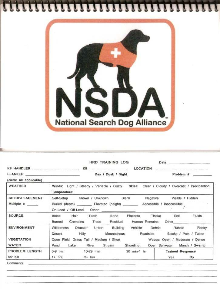 Hrd Log Book Dog Search Search And Rescue Known Unknowns