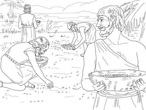 Gathering Manna from Heaven coloring page from Exodus