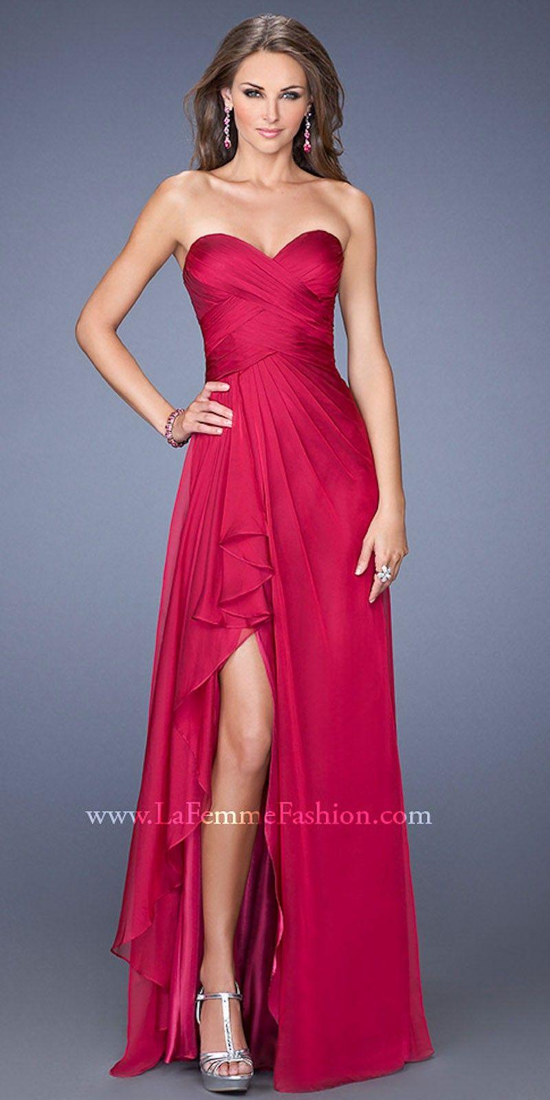 Crisscross sweetheart bodice leg slit prom dresses by la femme