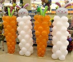 Carrots and Bunnies Mylar Balloon Pillar