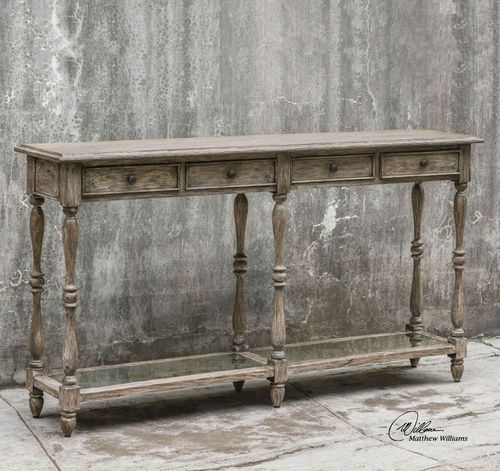 Breathe In The Sea Air With This Solid Mahogany Console Table A Weathered Driftwood Finish Completed By Its Elegant Antiqued Mirror Bottom Shelf