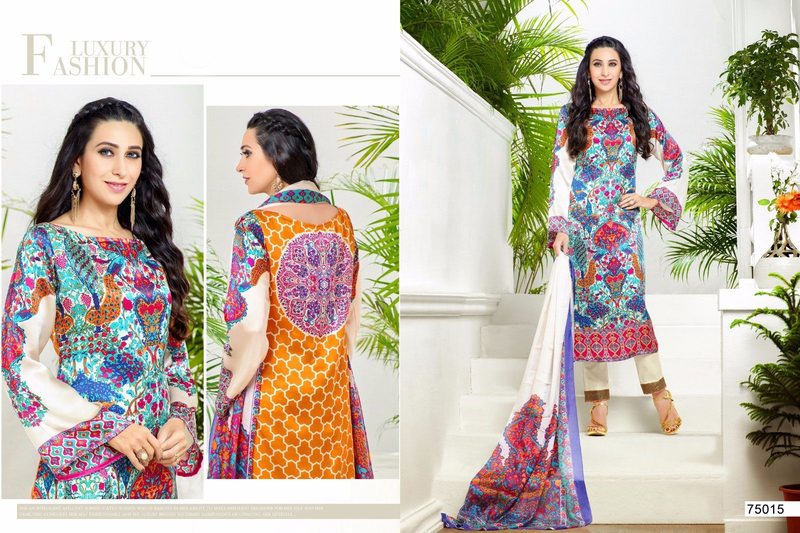 Look sensationally awesome in this multi colour georgette and satin Karishma Kapoor designer suit. The lovely print work throughout the attire is awe inspiring. Comes with matching bottom and dupatta. (Slight variation in color, fabric & work is possible. Model images are only representative.)