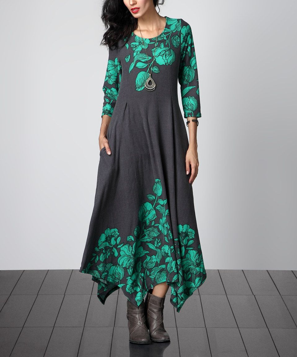cae1ae5f85d Charcoal Floral Handkerchief Maxi Dress by Reborn Collection  zulily   zulilyfinds