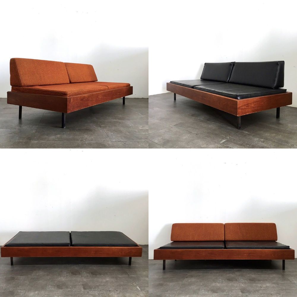 Modern daybed frame - Fantastic Mid Century Modern Daybed C1960 S Walnut Frame With Square Black Tubular Steel Legs