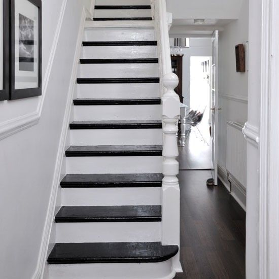 Black And White Painted Stairs Ideas Deck Railing At Http Awoodrailing