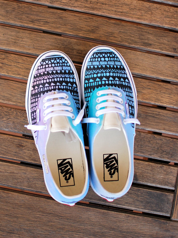 8bb0027bd1 Custom Hand Painted Pastel Color Tribal Pattern Vans Authentic shoes ...