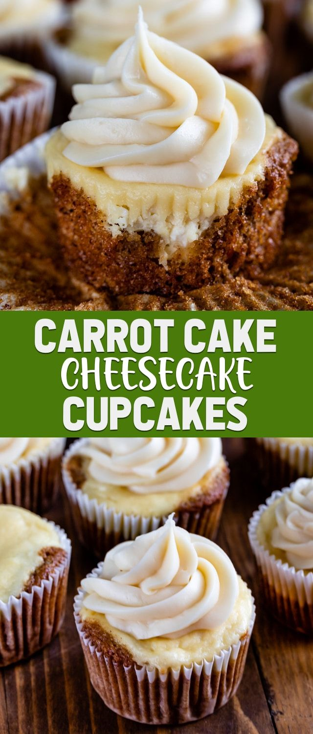 Carrot Cake Cheesecake Cupcakes are an easy way of combining carrot cake and cheesecake! This easy cupcake recipe is the original cheesecake cupcake and is topped with a cream cheese frosting. #cheesecakecupcakes