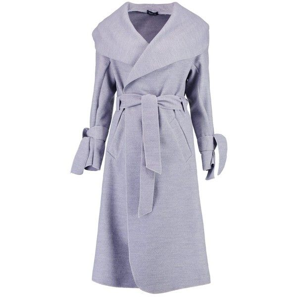 Boohoo Kerry Belted Wool Coat With Tie Cuff Detail (£27) ❤ liked on Polyvore featuring outerwear, coats, belted wrap coat, leather-sleeve coats, woolen coat, belted puffer coat and wool wrap coat