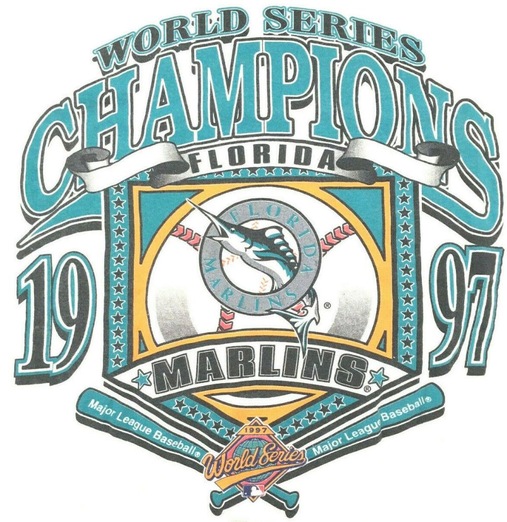 Vtg 90 S Florida Marlins T Shirt World Series Champions 1997 Champs Logo 7 Tee L Marlins T Shirt World World Series