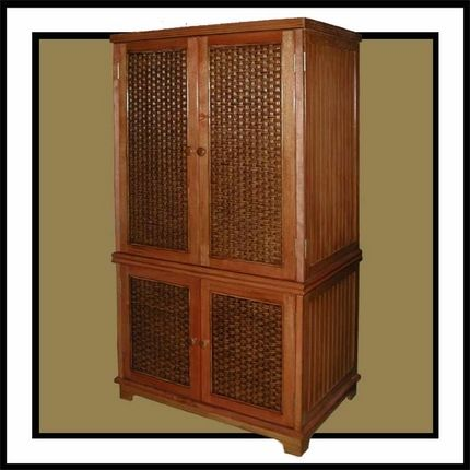 Superieur Cottage 4 Door Wicker TV Armoire   Blending Casual Styling With Tropical  Influences, It