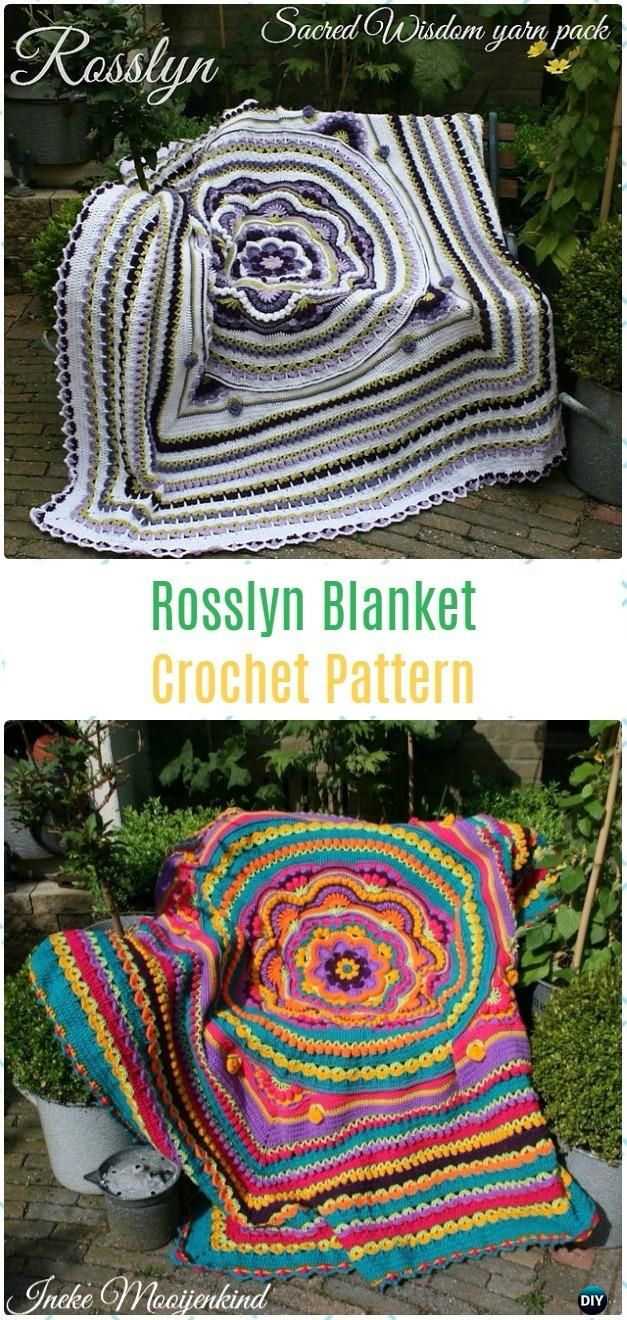 Crochet Rosslyn Blanket Paid Pattern - Crochet Flower Blanket ...