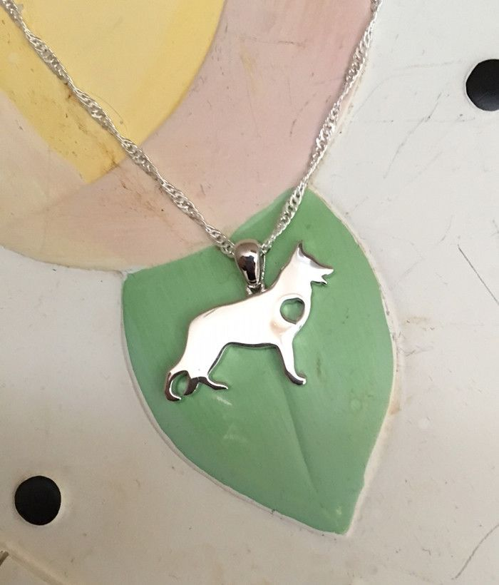 German Shepherd with Heart Sterling Silver Necklace and Charm