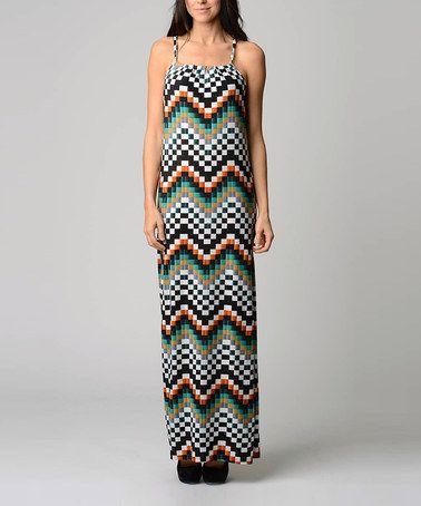 Another great find on #zulily! Green & Mustard Zigzag Valentine Maxi Dress #zulilyfinds