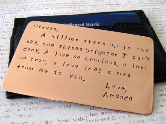 Perfect Wedding Anniversary Gift For Husband: Personalized Mens Wallet Insert Card