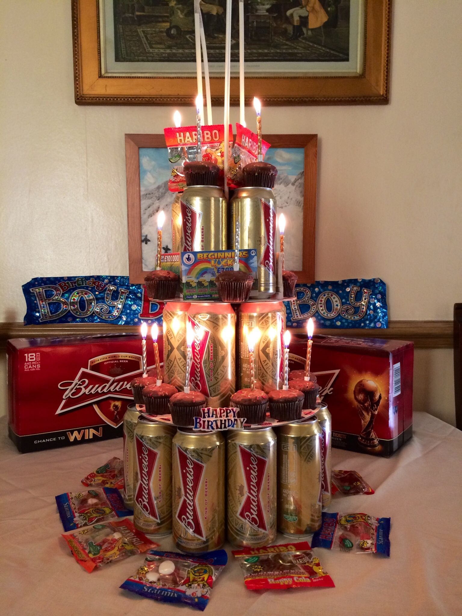 Beer Cake Using cans of Budweiser haribo cupcakes and scratch