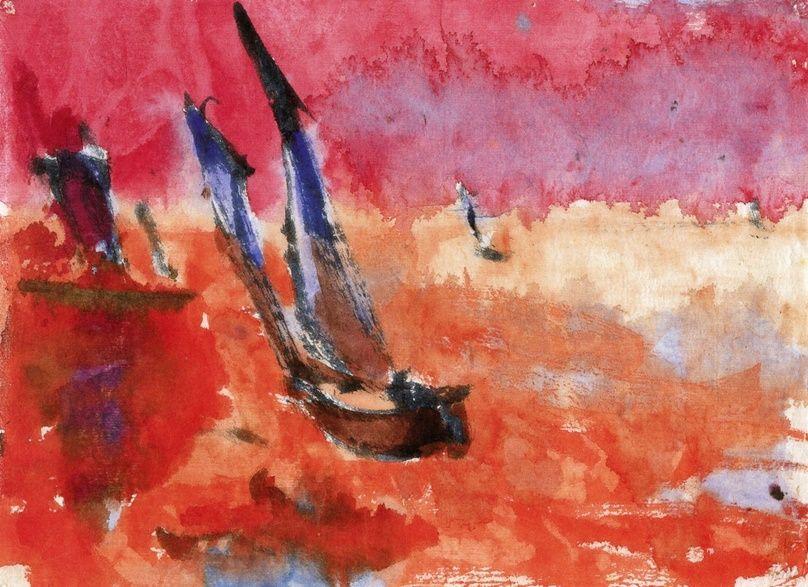 Junks (red)~Emil Nolde | Lone Quixote | #EmilNolde #nolde #expressionism #art #watercolor #painting
